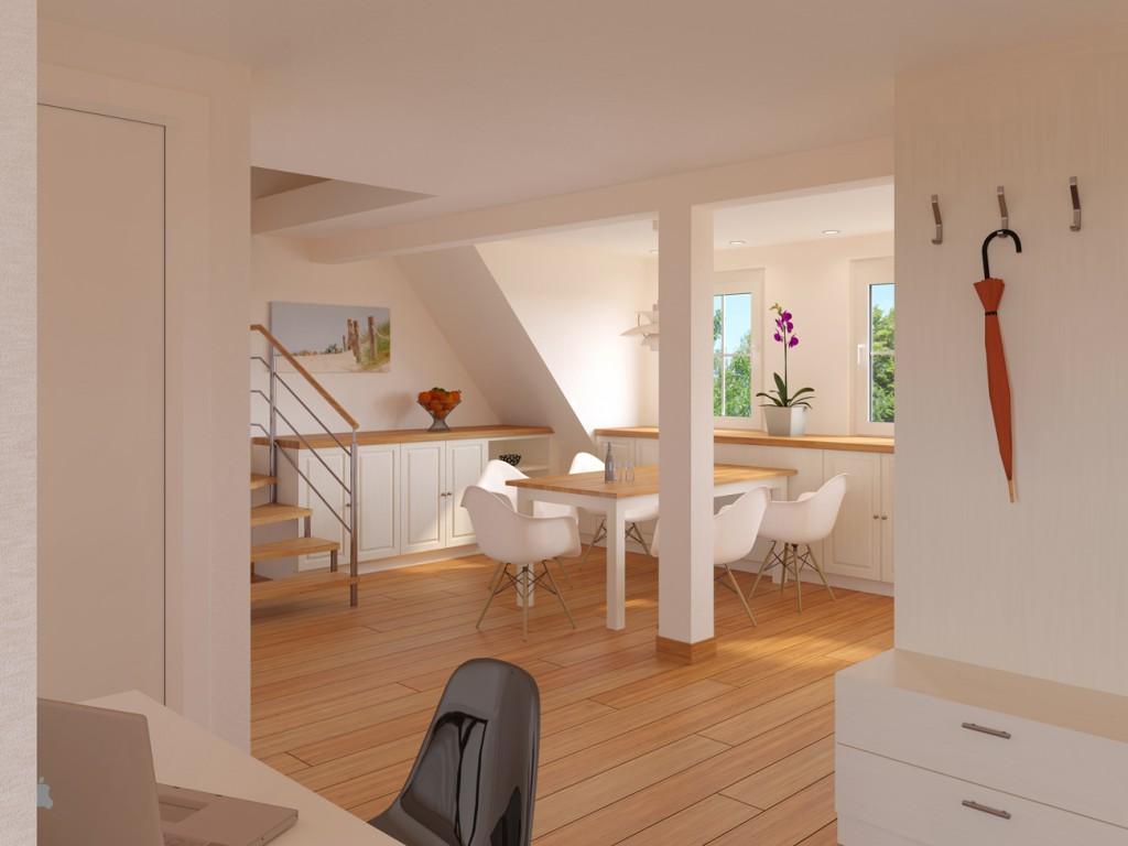 Wohnbereich und Essbereich einer Dachgeschosswohnung