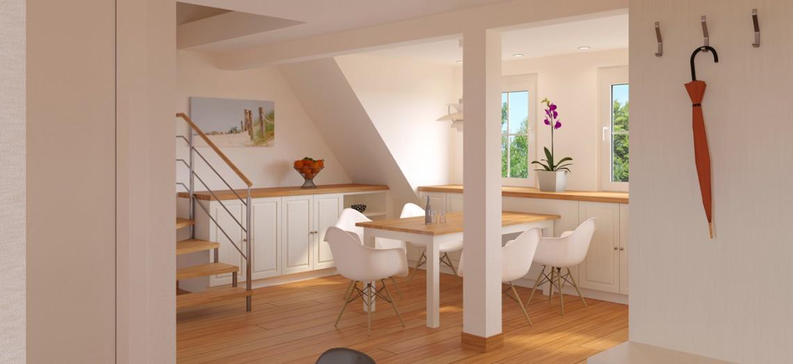 Visualisierung des Wohn-/ Essbereiches der Dachgeschosswohnung eines 3-Familienhauses
