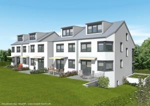 Rückansicht von fünf KfW-Effizienzreihenhäusern 70 - geplant vom Architekturbüro Eisenbraun