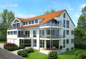 Bild eines vom Architekturbüro Eisenbraun geplanten Mehrfamilienhauses mit Luft/Wasser-Wärmepumpe