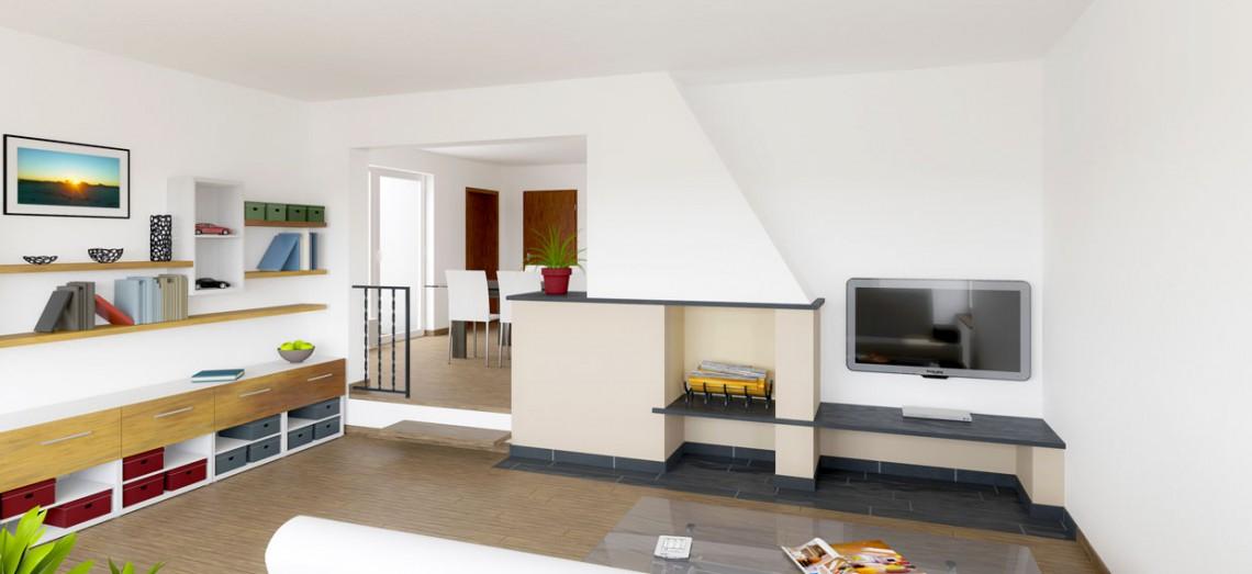 Visualisierung eines Wohnzimmers mit offenem Kamin