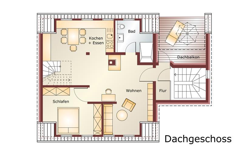 Unverbindlicher Grundriss der DG-Wohnung