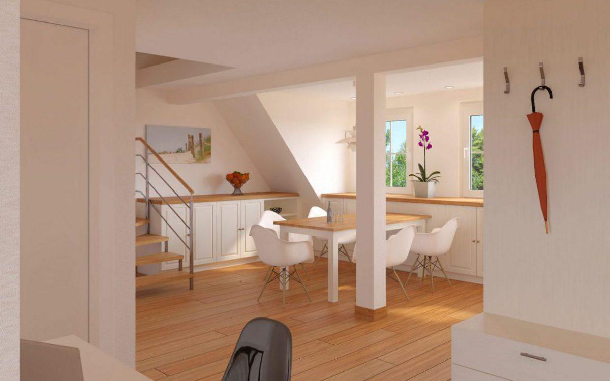 Eisenbraun Immobilien: Moderner Essbereich einer Dachgeschosswohnung zum Kauf
