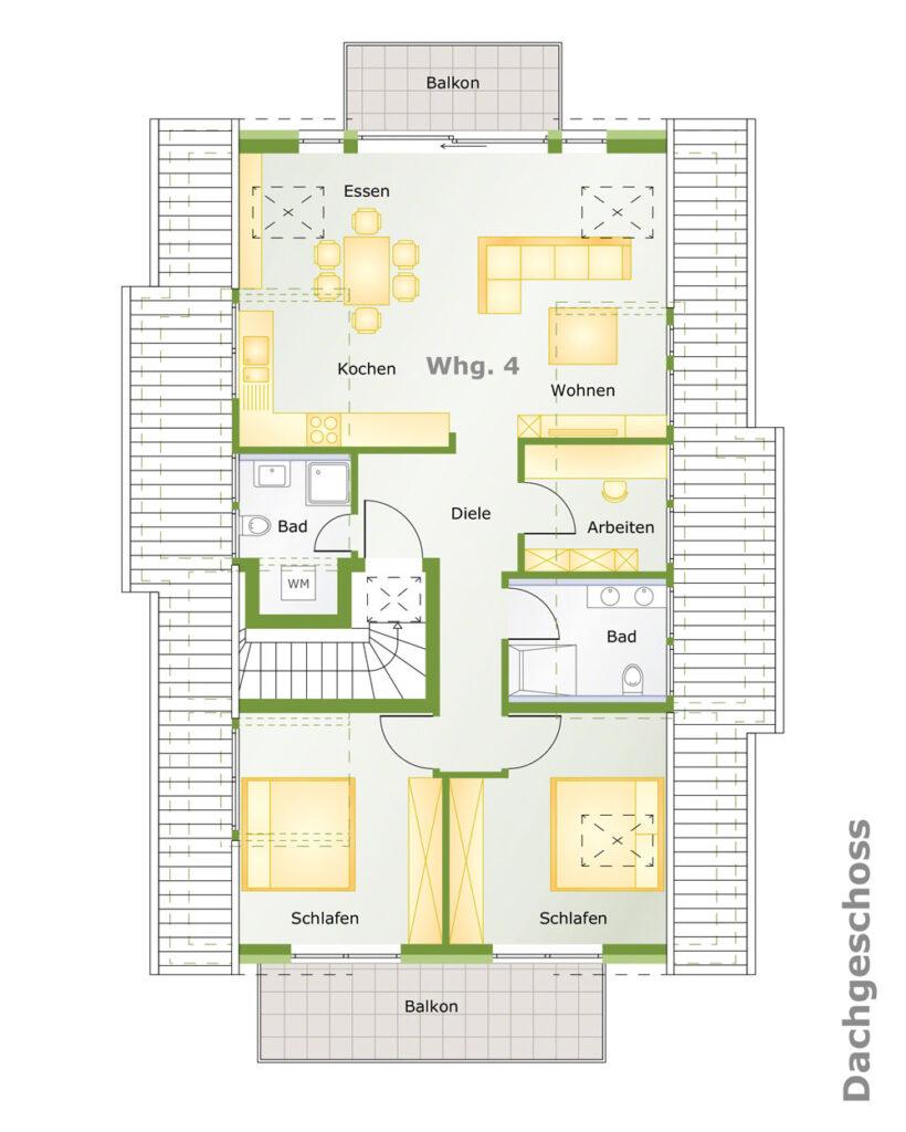 Grundriss 4-Zimmer Dachgeschosswohnung in Ostfildern