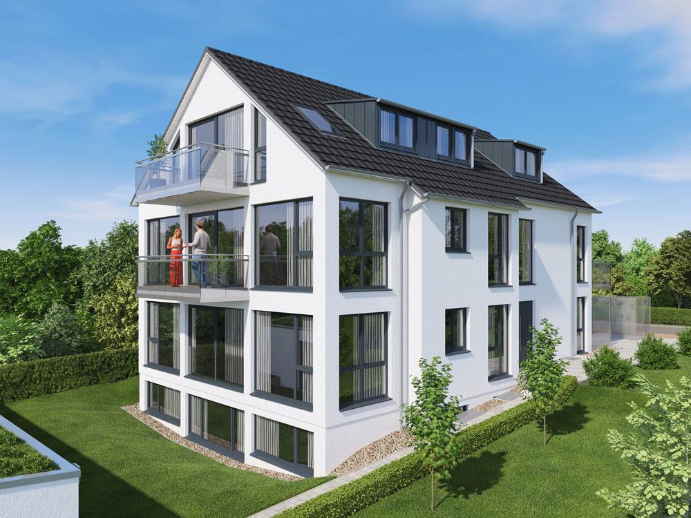 Visualisierung Eines 4-Familienwohnhauses Mit Luft-Wasser-Wärmepumpe In Ostfildern. Drei Wohnungen In Diesem KfW 55 Effizienzhaus Stehen Zum Verkauf. Die Erdgeschosswohnung Ist Barrierefrei.