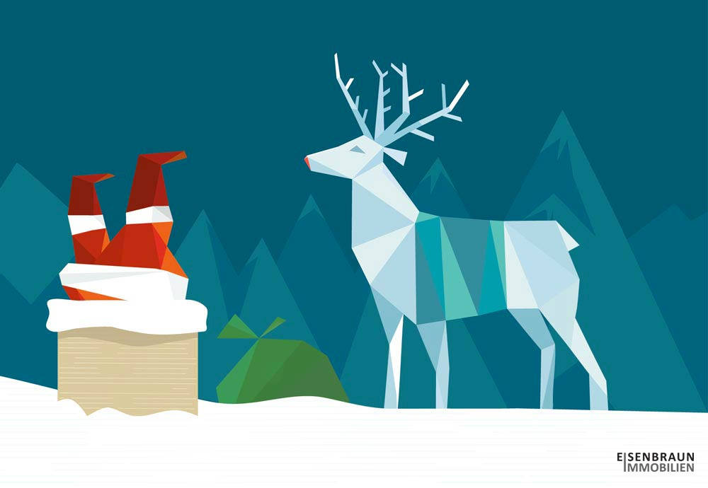 Eisenbraun Immobilien Wünscht Frohe Weihnachten 2020. Die Grafik Zeigt Einen Weihnachtsmann Der Gerade Kopfüber Im Schornstein Verschwindet. Daneben Steht Ein Rentier.